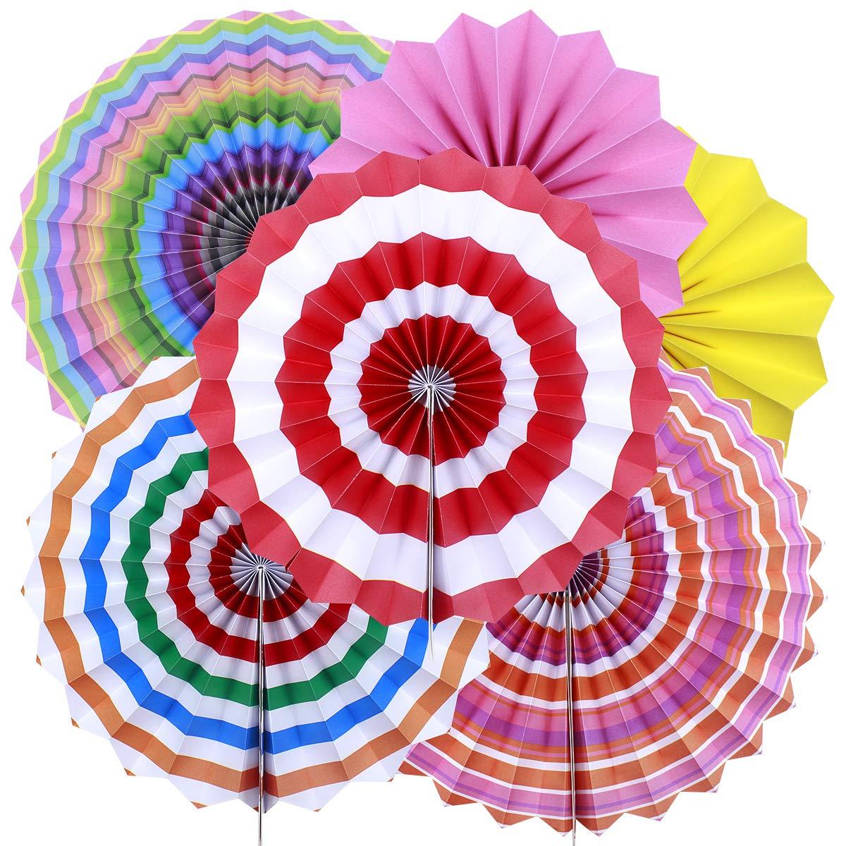 Natuce 6 Piezas Flor de abanico de papel Multicolor Ventilador de Papel Bola de la Flor decoraci/ón para celebraci/ón fiesta cumplea/ños boda Azul