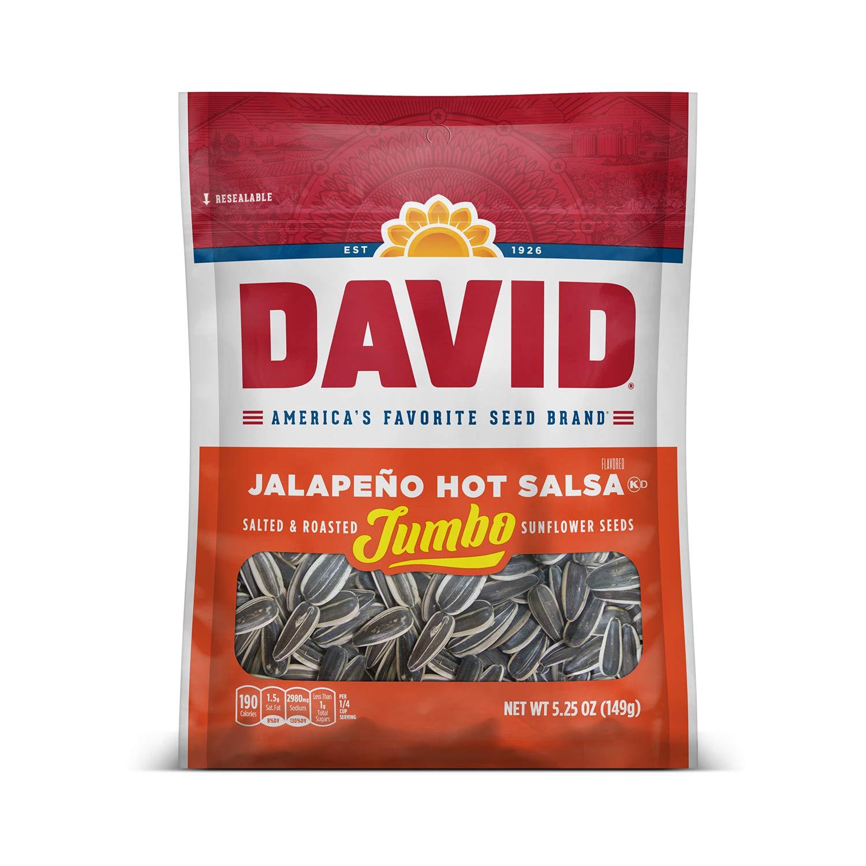 DAVID SEEDS Roasted and Salted Jalapeño Hot Salsa Jumbo Sunflower Seeds, Keto Friendly, 5.25 oz, 12 Pack