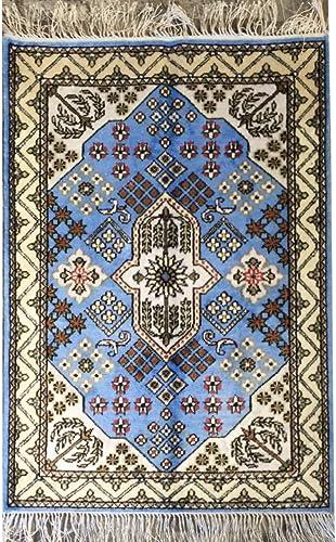 Handmade Qum Traditional Persian Silk Rug Vintage Geometric Oriental Medallion Carpet 2-Feet-by-3-Feet, Blue