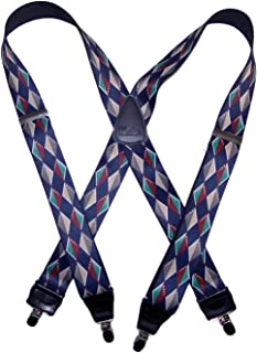 product image for HoldUp Brand Diamondback Pattern Suspenders in X-back style with Patented No-slip Nickel Clips