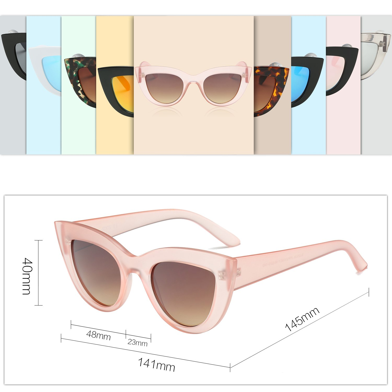 1e19023875a71 SojoS Retro Vintage Cateye Sunglasses for Women Plastic Frame Mirrored Lens  SJ2939 With Pink Frame Brown Lens