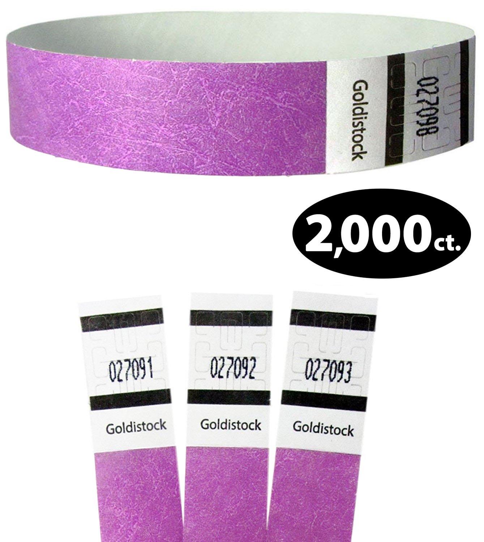 3//4 Tyvek Wristbands Royal Neon Purple 500 Count Paper - Like Texture Event Identification Bands Goldistock Original Series
