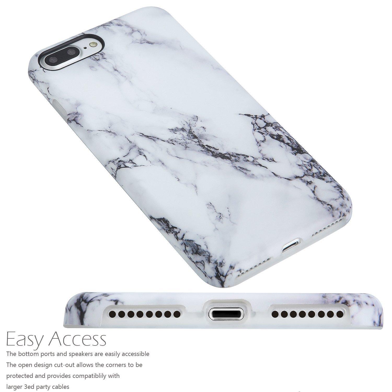Estuche iPhone 7 Plus y 8 Plus, diseño creativo de mármol, A2EBALLART Estuche protector TPU de caucho TPU suave y flexible para iPhone 7 Plus y iPhone ...