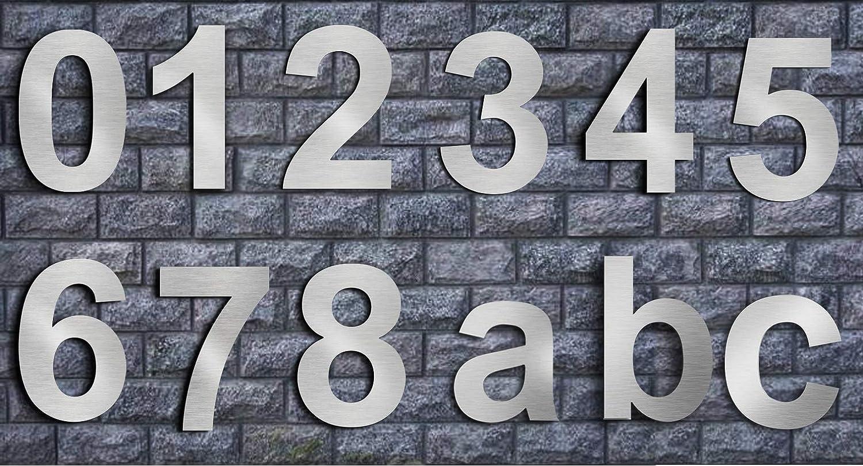 F/ácil de instalar y hecho de acero inoxidable s/ólido 304 Apariencia flotante Nanly N/úmero de casa moderna-10.2Cent/ímetros//4 pulgadas-Acero inoxidable N/úmero 2