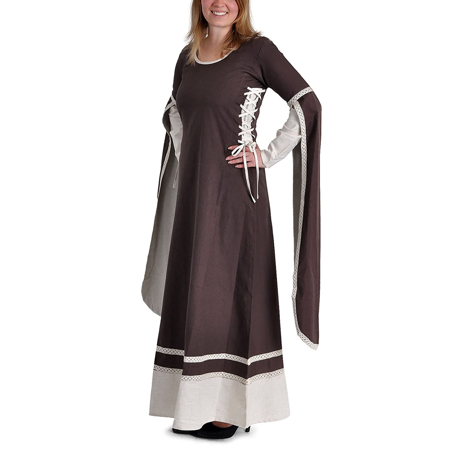 Medieval Dress Long with Side Lacing Bicolour Garment Floor Length Sleeves Brown Natural