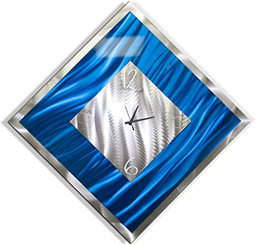 Statements2000 Square Blue Silver Abstract Metal Wall Clock