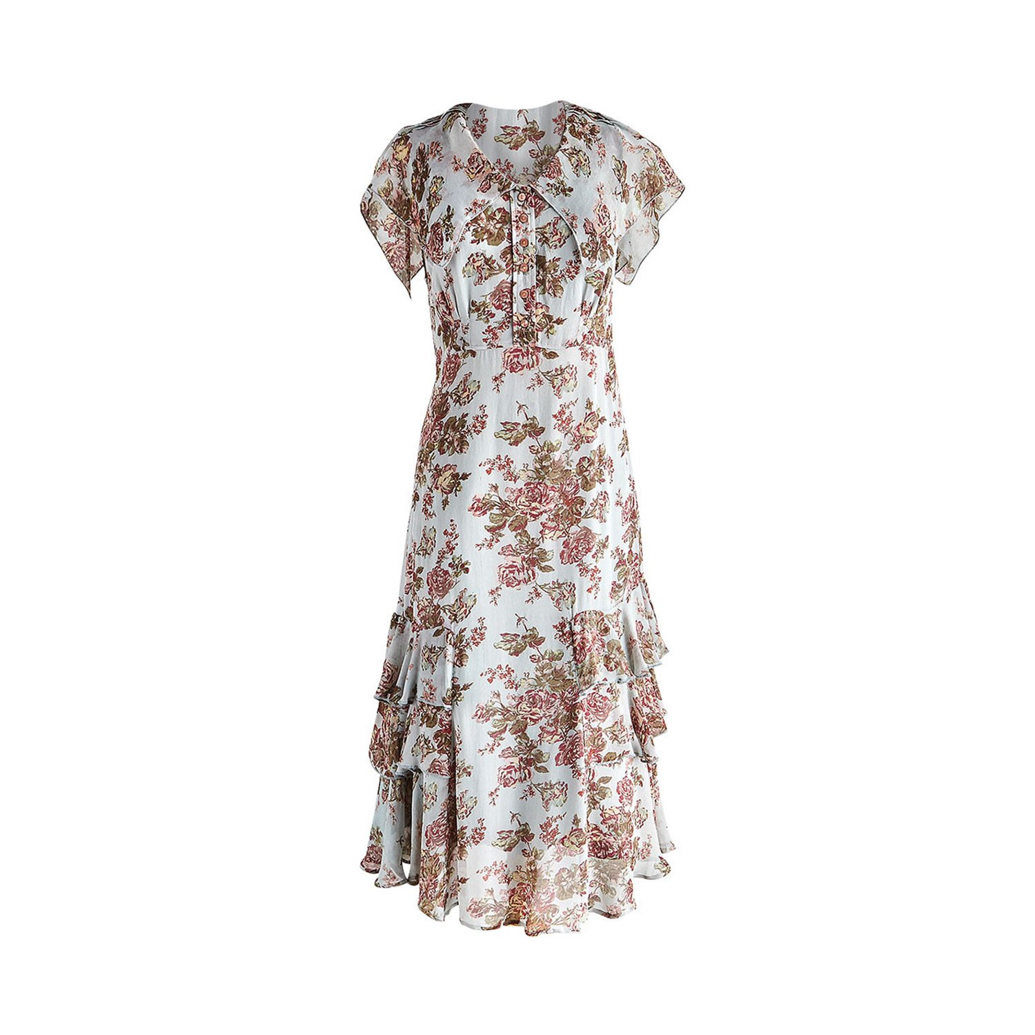 What Did Women Wear in the 1930s? April Cornell Womens Sleeveless Dress - Tea Length Floral Print - 44 Long $134.94 AT vintagedancer.com