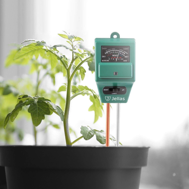 Jellas Soil pH Meter, 3-in-1 Moisture Sensor Meter/Sunlight/pH Soil Test Kits Test Function for Home and Garden, Plants, Farm, Indoor/Outdoor Use by Jellas (Image #2)