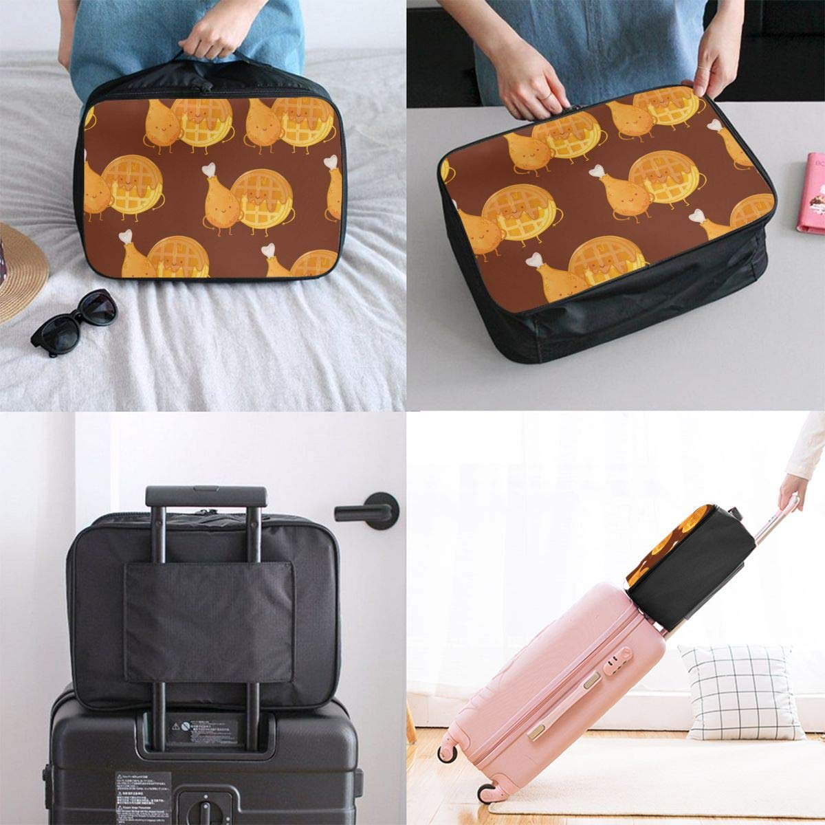 Travel Fashion Lightweight Large Capacity Duffel Portable Waterproof Foldable Storage Carry Luggage Tote Bag Chicken Waffles