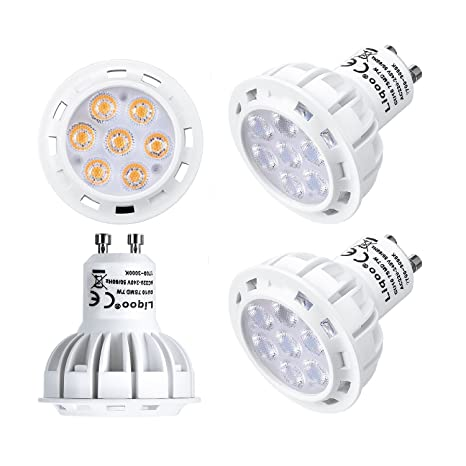 Liqoo 4x 7W Bombillas LED GU10 Lámpara Bajo Consumo Blanco Cálido 2800K AC 220-240V