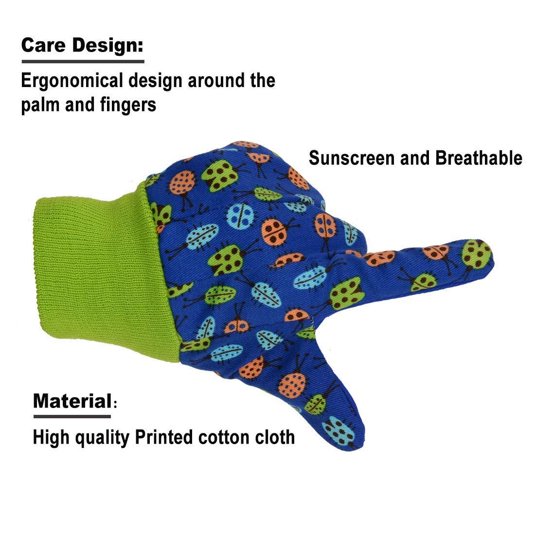3 Blue Dots S 3 pares de guantes de jardiner/ía para ni/ños dise/ño suave y c/ómodo