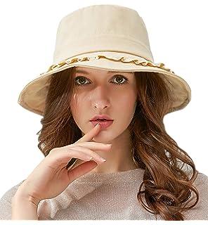 1cbcb1206424d Lachi Femme Chapeau Capeline de Soleil Coton Casquette de Pêche Bonnet Large  Bord Anti UV Réglable