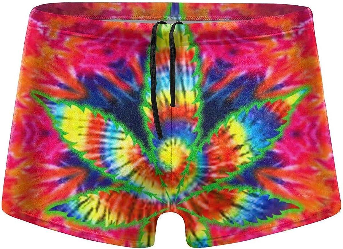 Millancty Trajes de baño para Hombres Trajes de baño Tie Dye Weed Boxer Brief Trajes de baño de Secado rápido Shorts de Tablero S