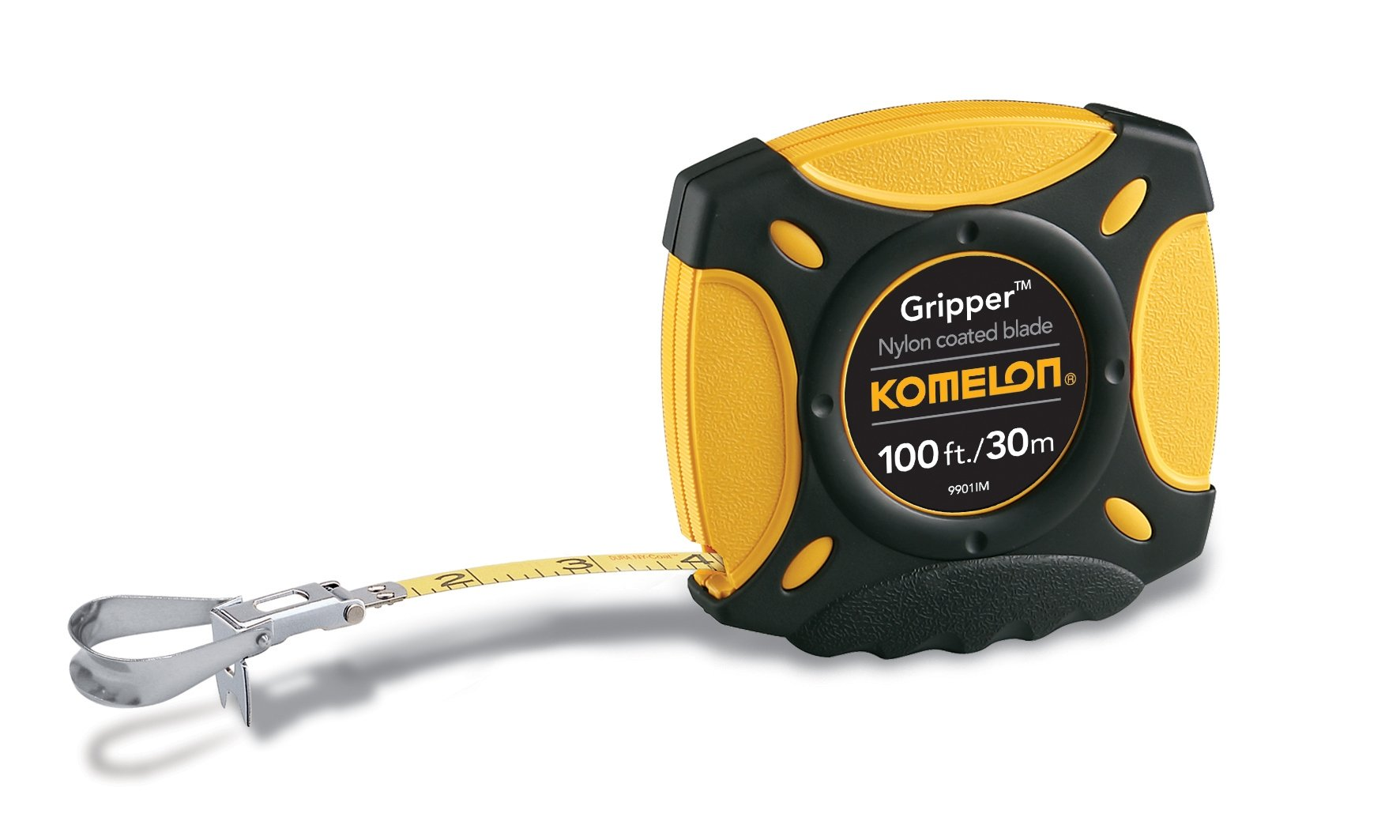 Komelon 9901IM Gripper Closed Case Long Tape Measure Inch/Metric Scale with Nylon Coated Steel Blade 100-Inch by 3/8-Inch
