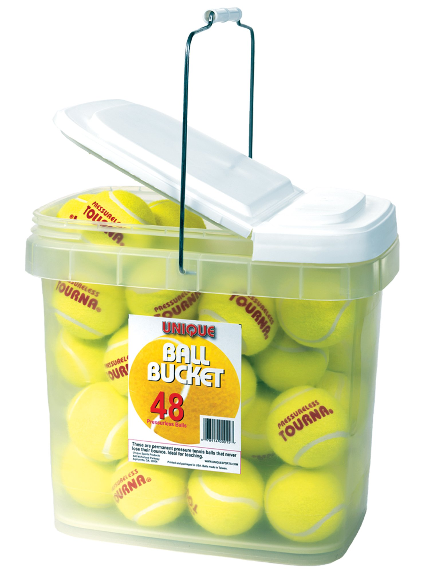 Unique Tourna Bucket of 48 Pressureless Tennis Balls