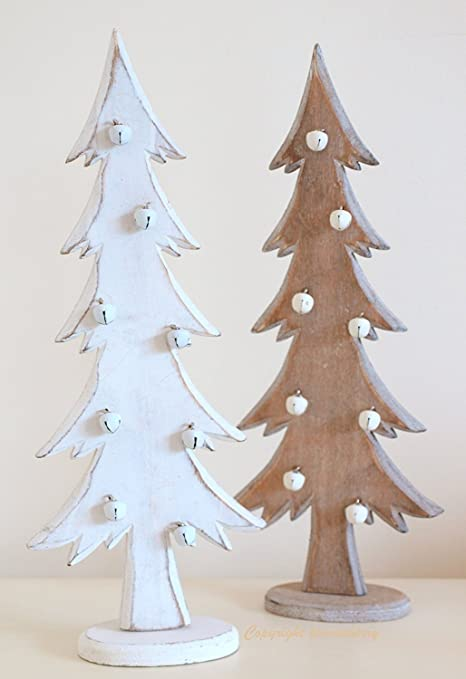 christmas tree decorations wooden christmas trees shabby distressed style in white natural wood
