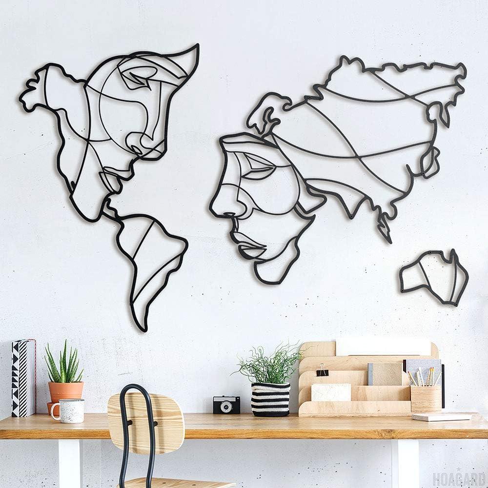 Hoagard Faces of World Map XL Metal Wall Art - Decoración geométrica para Pared - Mapamundi XL con Caras - para Salones Minimalistas - Metal - Negro - 146x94cm
