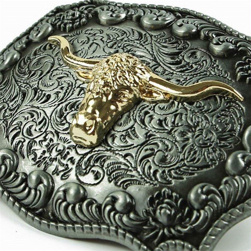 chiwanji Antique Celtic Embossed Golden Long Horn Bull Head Belt Buckle Cowboy Style