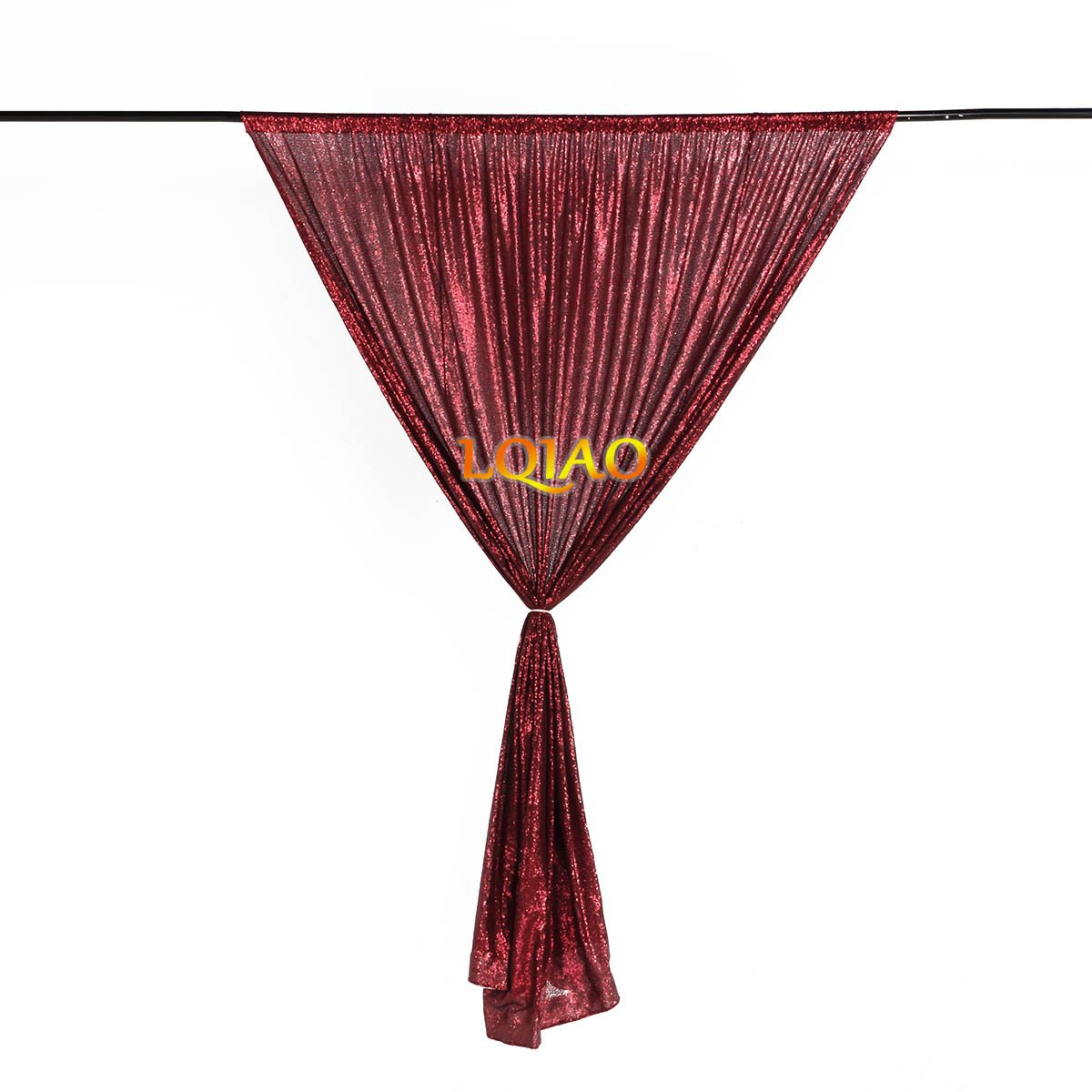 LQIAO Embroidered Sequin Fabric Backdrop Curtain 4FTx8FT Burgundy Modern Window Drapes Sequin Curtain for living room/photo booth backdrop