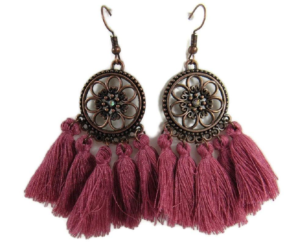 Metal Tassle Dangle Statement Earrings Vintage Retro BOHO Patterns (Rose Red Tassle, Copper-Tone Alloy)
