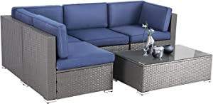 SOLAURA 5-Piece Outdoor Furniture Set, Grey Wicker Furniture Modular Sectional Patio Sofa Set with YKK Zipper &Coffee Table -Navy Blue