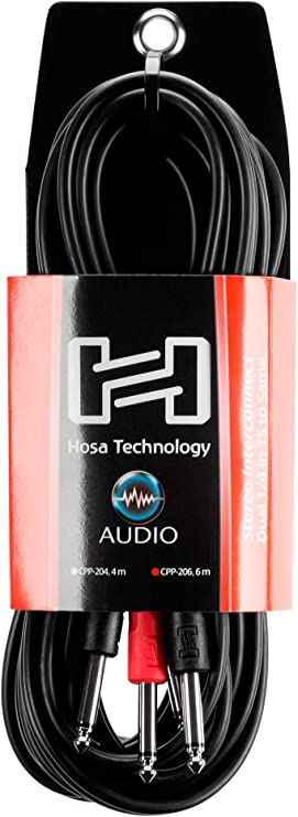 """6 m HOSA CPP-206 Keyboard Stereo Interconnect Cable Connector Dual 1//4/"""" TS"""