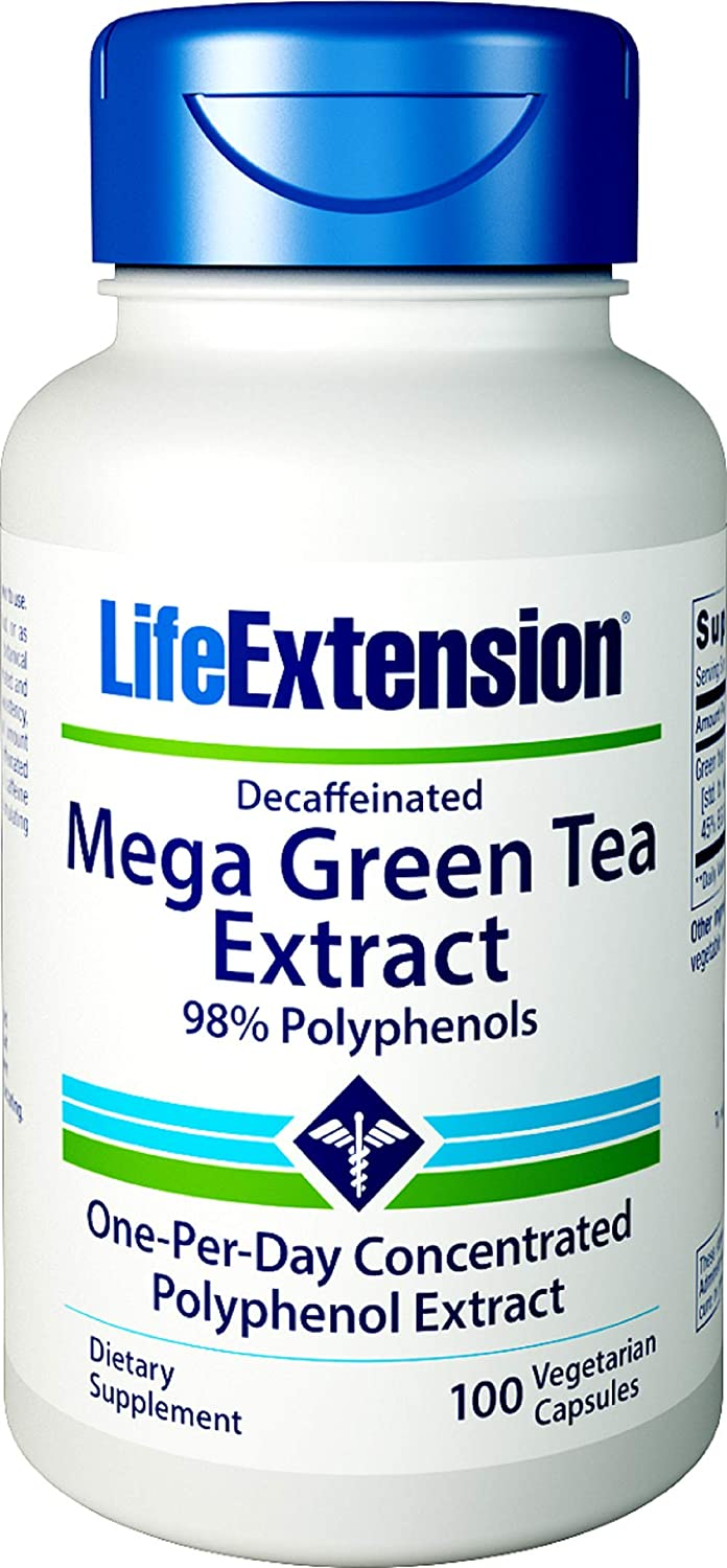 Life Extension Mega Green Tea Extract 98 Polyphenols Decaffeinated, 100 Vegetarian Capsules