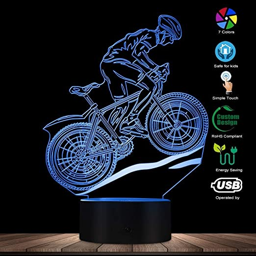 MTB Mountain Biker LED Luz de ilusión óptica Lámpara USB brillante ...