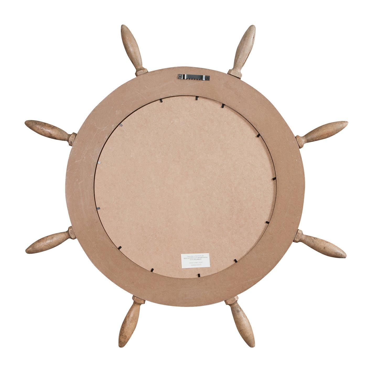 Biscottini Specchio da Parete a Forma di timone in Legno massello Diam.73XPR3,5 cm