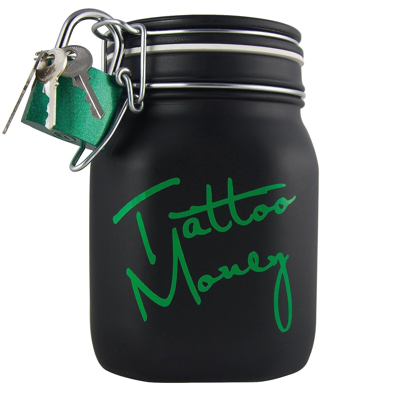 Tattoo Sparbüchse - Spare Geld für Dein Nächstes Tattoo - Tattoo Money Spardose aus Glas mit Bügelverschluss & Schloss eeddoo 66177