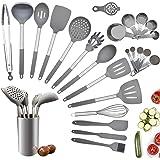 Juego de utensilios de cocina, 25 piezas de silicona para cocinar, juego de utensilios de cocina con silicona resistente al c