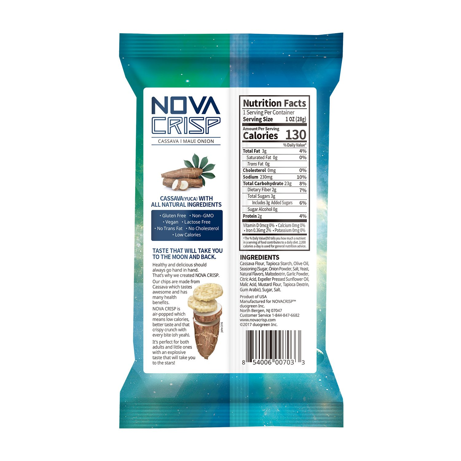 Snack Chips All Natural Popped Cassava Healthy Gluten Free Non-GMO Nut Free Snacks (Maui Onion, 1oz, 6 PACK) by NOVACRISP (Image #3)
