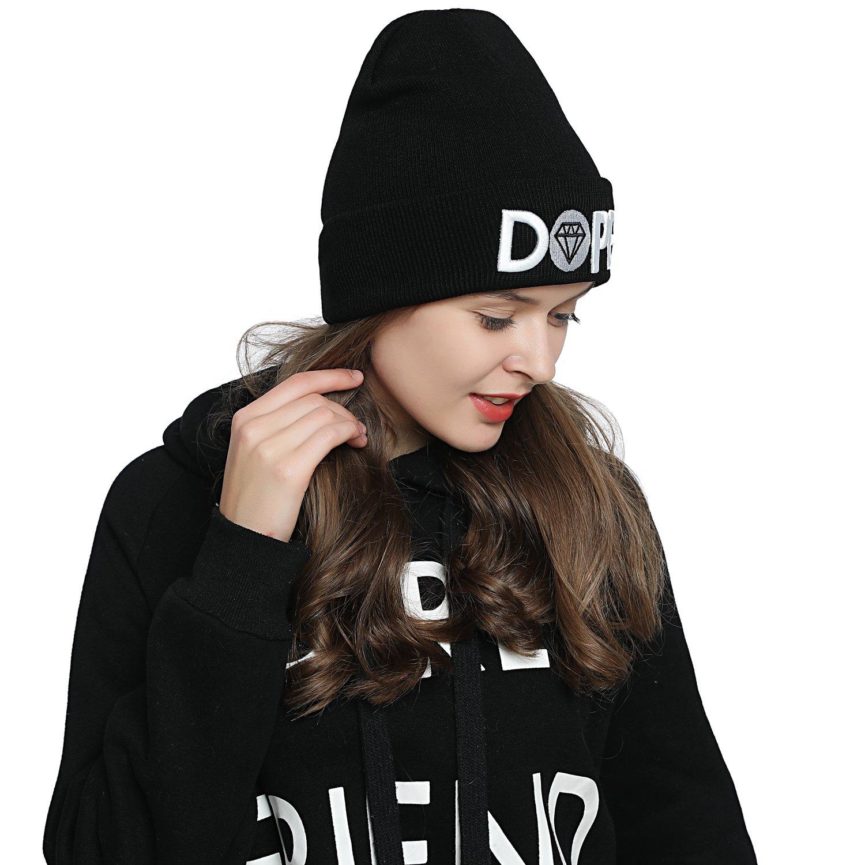 6513019a0 DonDon Mujer Gorro Beanie de invierno negra con Statement MUE127-n  Accesorios