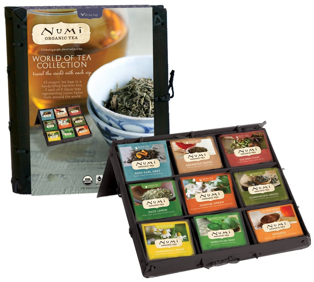 Numi Organic Tea World of Tea Variety Gift Set, 45 Black, Green, Mate & Herbal Tea Bags in Bamboo Chest (Packaging May Vary) by Numi