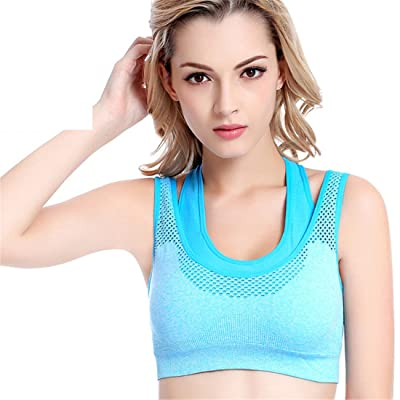 dfb27f01a2 Luckywe Women s Yoga Top Burnout Mesh Sports Bra High Impact Support  Wirefree Workout Racerback