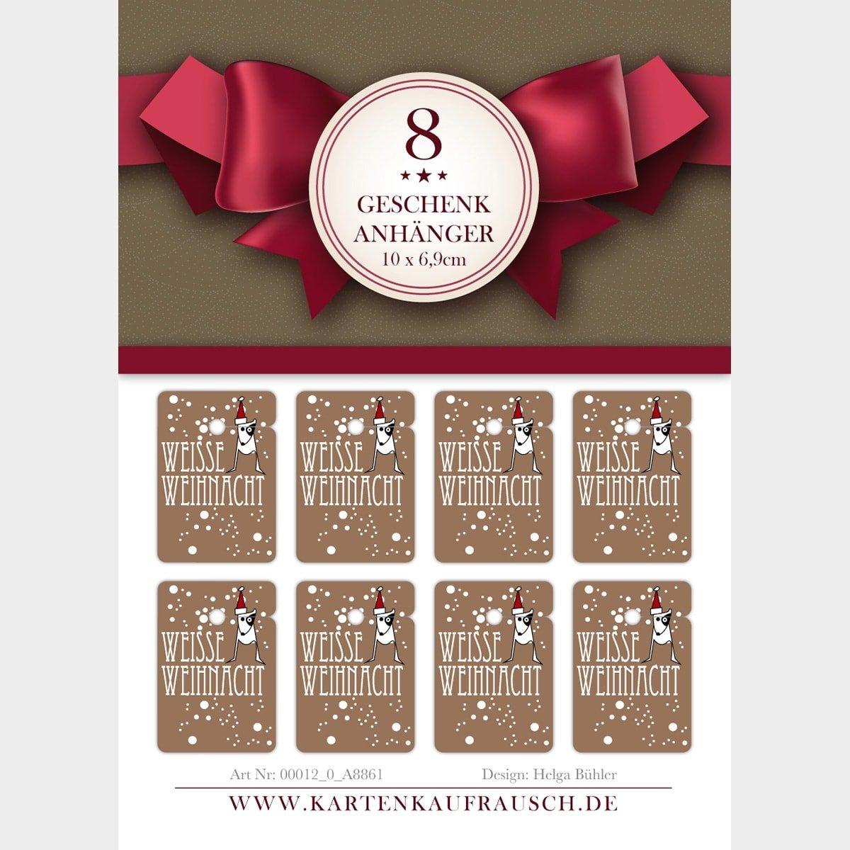 Kartenkaufrausch 10x8 süße Weihnachts Weihnachts Weihnachts Geschenkanhänger   Deko Geschenkkarten   Papieranhänger   Etiketten Format 10 x 6,9cm mit Hündchen: Weiße Weihnacht 2c24c6