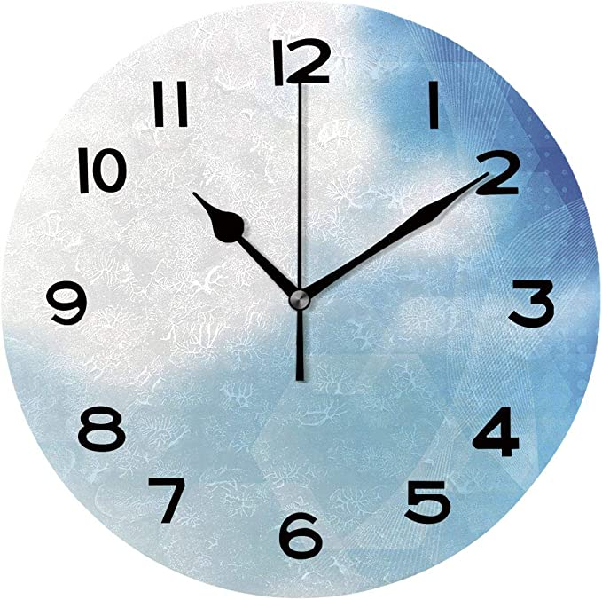 Aluoni Round Wall Clock Abstract Blue Vector Background Illustration 10 Inch Morden Wall Clocks Silent Round Decorative Clock Is024634 Home Kitchen
