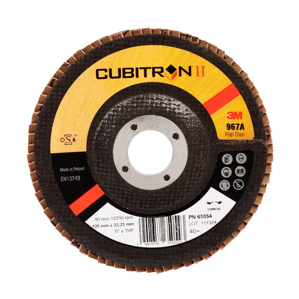 3M CubitronII Flap Disc 967A, 115 mm x 22 mm, 40+, Conical, 1 Disc/Box 7000104359