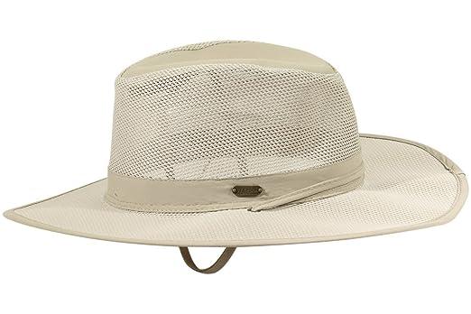 ddce796a Stetson No Fly Zone Big Brim Mesh Safari Hat w/ Chin Cord (Khaki, Size  Medium) at Amazon Men's Clothing store: