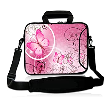 ToLuLu/®Pink /& Butterfly 9.7 10 10.2 inch Laptop Netbook Tablet Shoulder Case Carrying Sleeve bag For Apple iPad//Asus EeePC//Acer Aspire one//Dell inspiron mini//Samsung N145//Lenovo S205 S10//HP Touchpad Mini 210