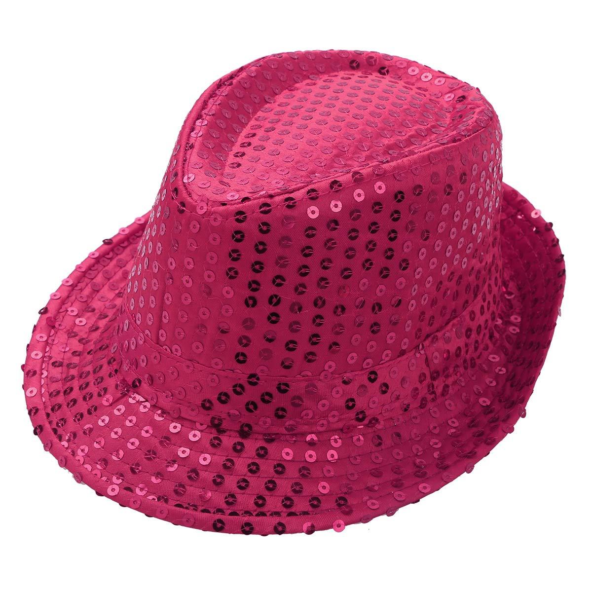 inlzdz Kids Boys Girls Sequins Fedora Hat Hip Hop Latin Jazz Street Dance Costume Accessories Cap