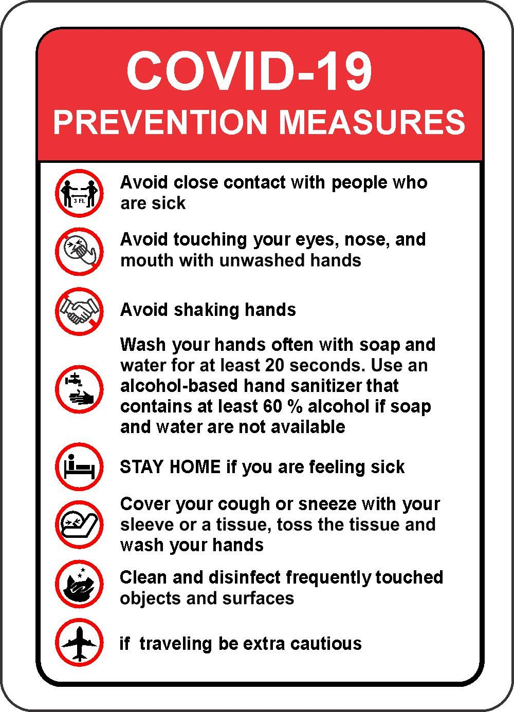Safety School Hotel COVID-19 Prevention Measures Sign 127mmx177mm INDIGOS UG Company Warning Sticker Decal for Office