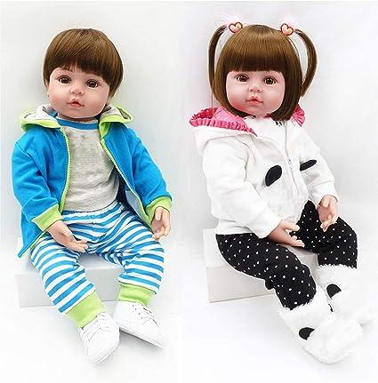 Realistic Looking Reborn Twins Boy+Girl 2pcs Toddler Doll 24in Reborn Baby Dolls