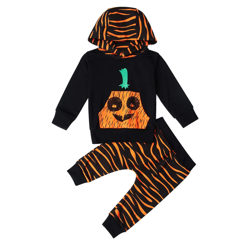 RAISEVERN Unisexe Bébé Filles Garçons Halloween Citrouille Imprimer Vêtements Ensemble À Manches Longues À Capuche Outfit Noir 0-3 mois