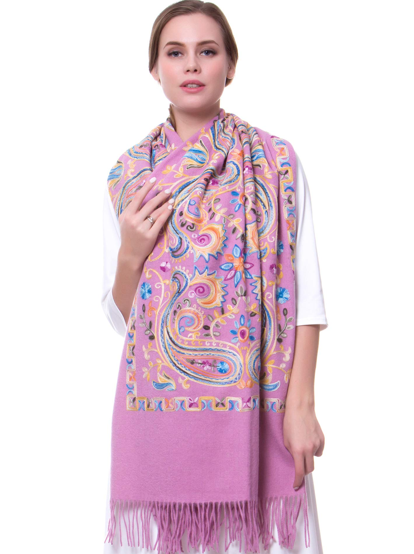 MORCOE Women's Exotic Design Wool Delicate Embroidered Soft Fringe Long Scarf Wrap Ladies Party Shawl Valentines Day Gift (Purple) by MORCOE