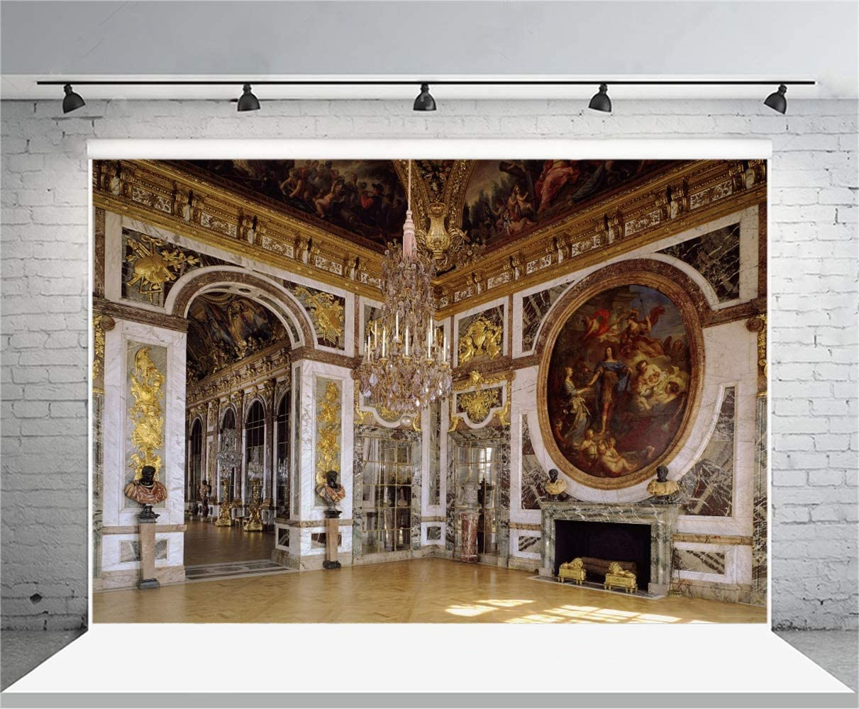 8x6.5ft European Palace of Versailles Interior Polyester Photography Background Luxurious Chandelier Vintage Jesus Mural Fireplace Arch Door Backdrop France Famous Cultural Resort Wedding Shoot
