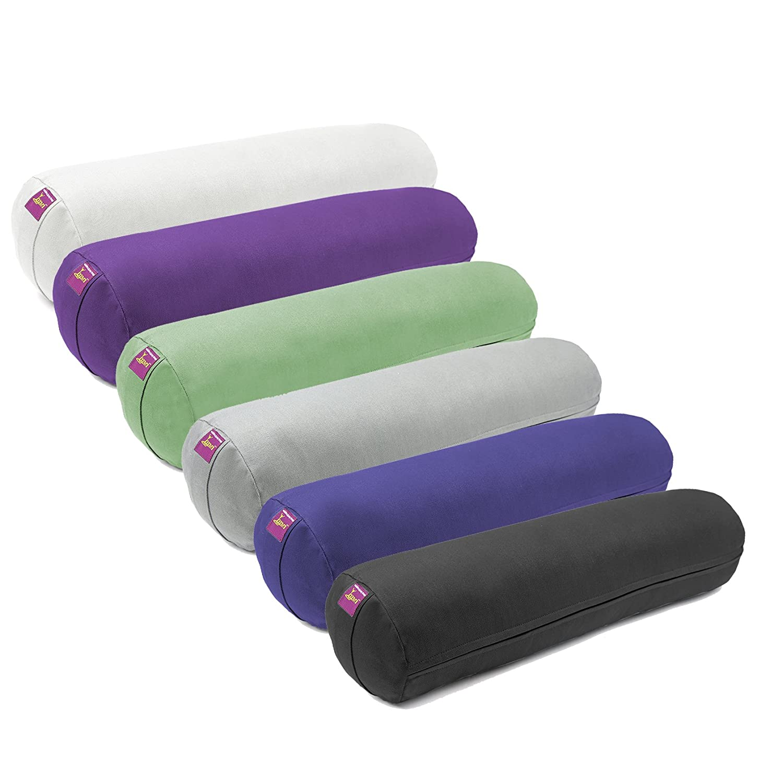 Amazon.com : Round Junior Cotton Filled Yoga Bolster (Black ...