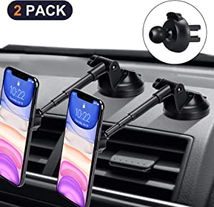 2 Pack Magnetic Phone Car Mount with 6 Powerful Magnets, Aluminium Alloy Telescopic Arm Car Phone Holder for Dashboard Windshield Air Vent, Super Sticky Suction Cup, for All Phone Tablets