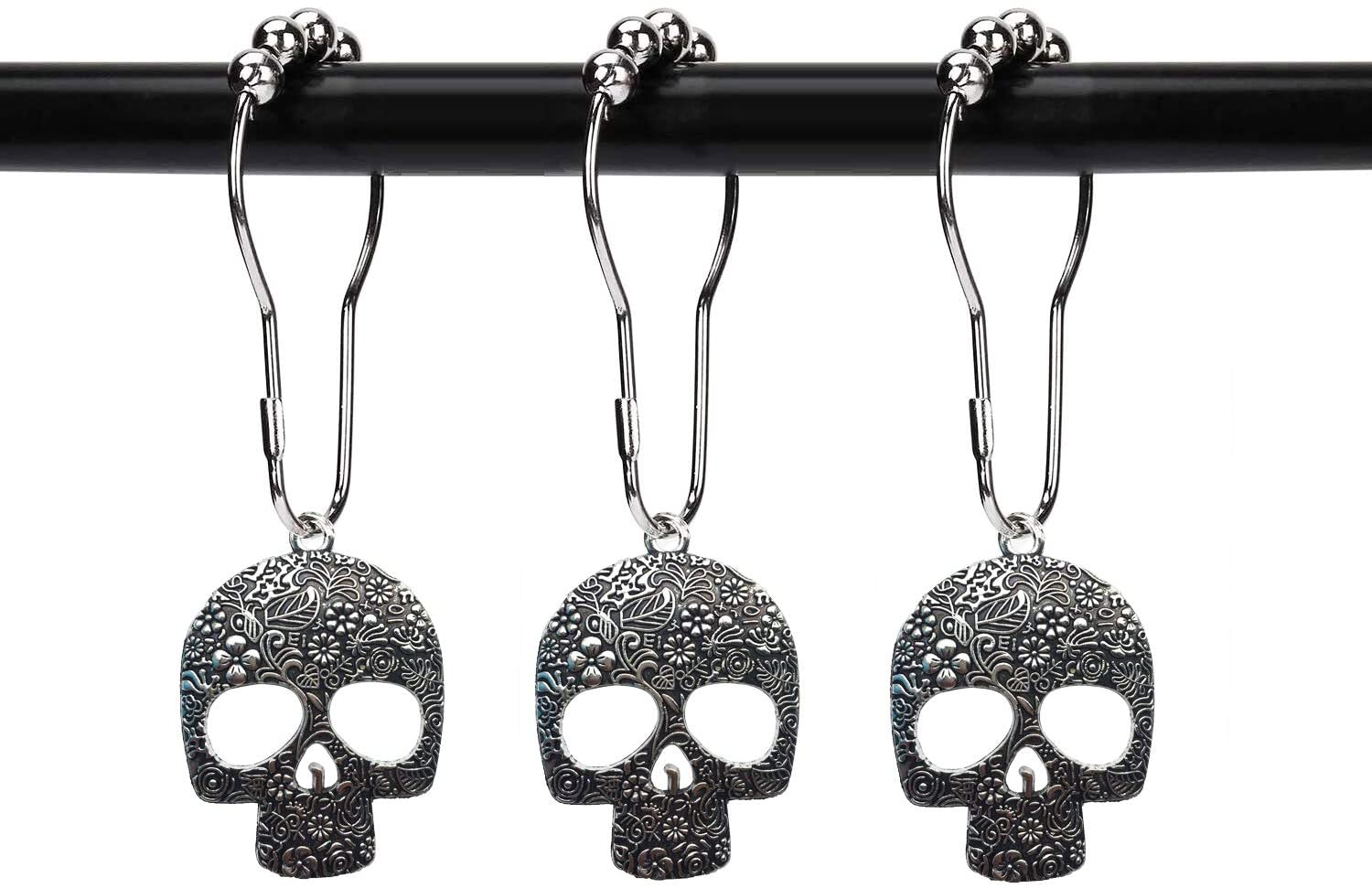ZILucky Set of 12 Sugar Skull Shower Curtain Hooks Decorative Home Bathroom Stainless Steel Rustproof Skeletons Shower Curtain Rings Decor Accessories (Silver)