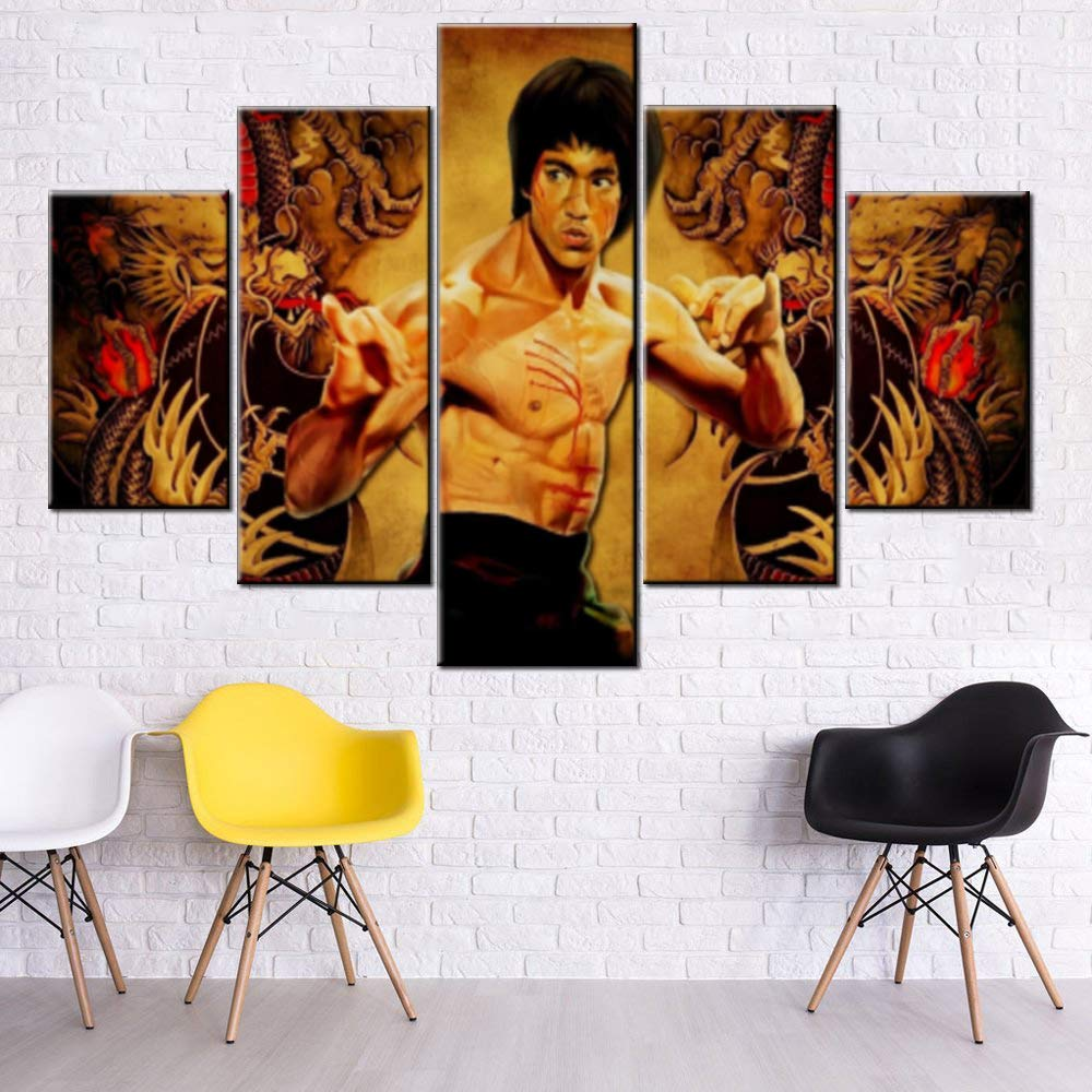 Modern House Decorations Martial Art Jeet Kune Do Founder Pictures for Bedroom Bruce Lee Artwork Multi Piece Prints Canvas Wall Art Dragon Painting Giclee Frame Stretched Ready to Hang(60''Wx40''H) by Mookou